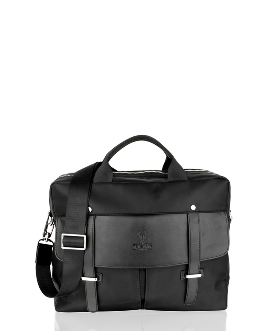 Black canvas & leather briefcase Sale - woodland leather