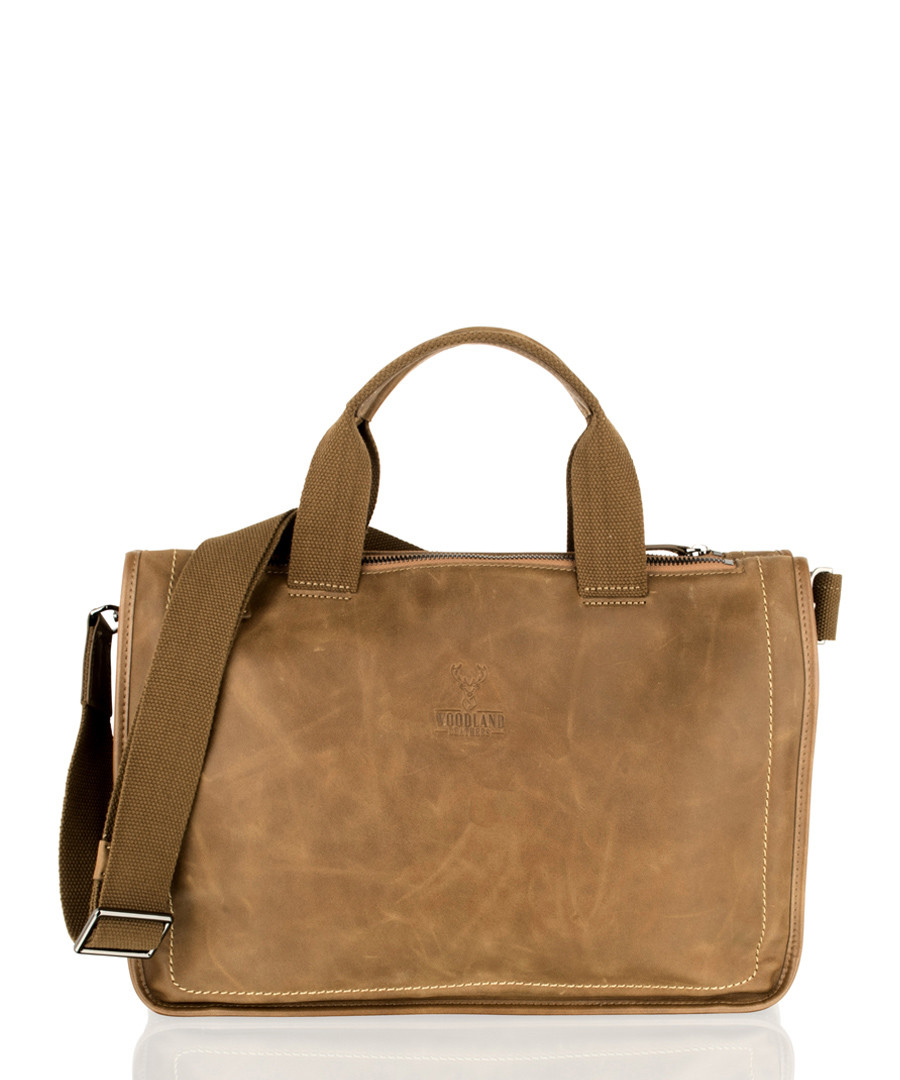 Tan leather briefcase Sale - woodland leather