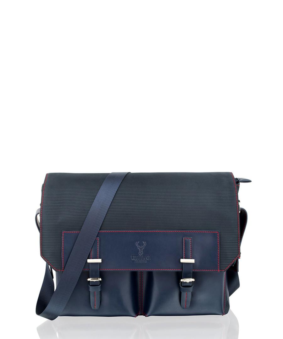 Navy canvas & leather satchel Sale - woodland leather