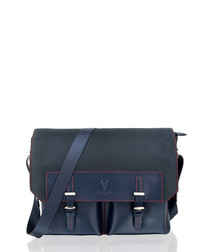 Navy canvas & leather satchel