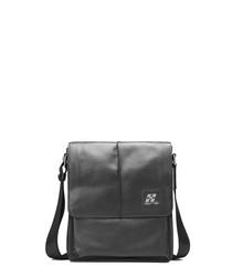 Black leather flap messenger bag