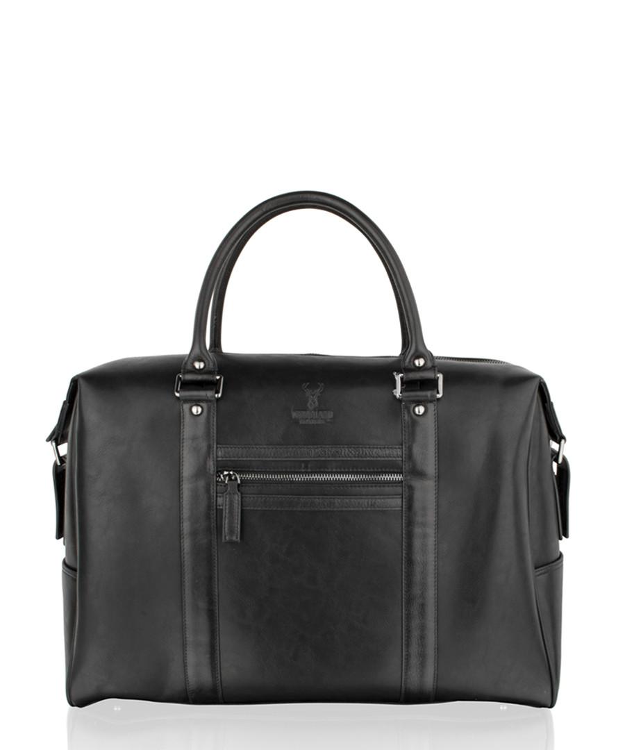 Black leather weekend bag Sale - woodland leathers