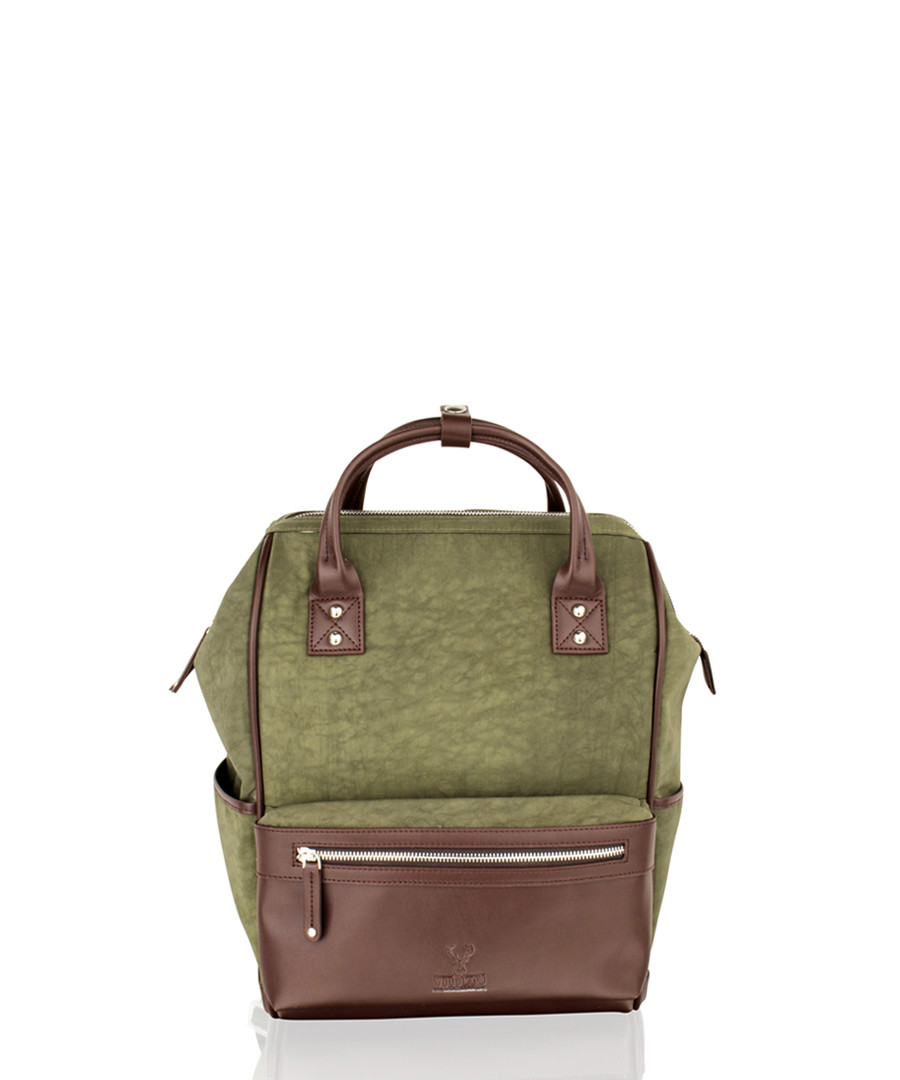 Olive canvas & leather backpack Sale - woodland leather