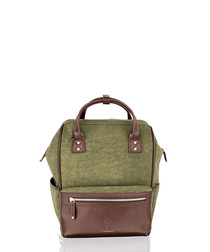 Olive canvas & leather backpack