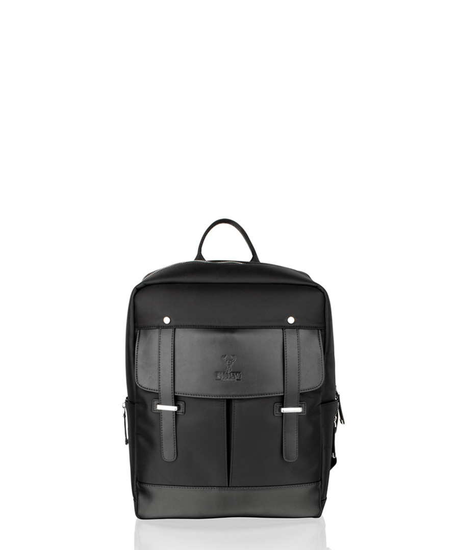 Black canvas & leather backpack Sale - woodland leather