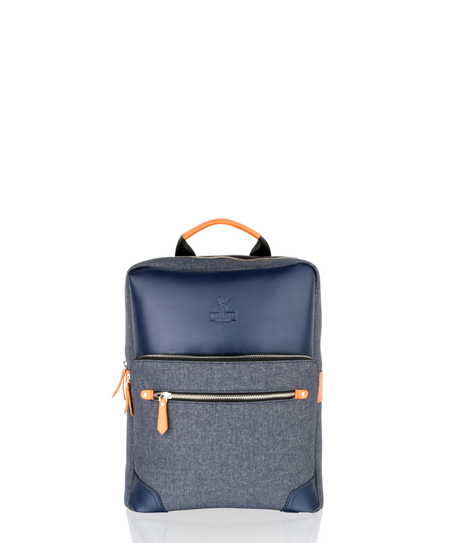 Navy canvas & leather backpack Sale - woodland leather