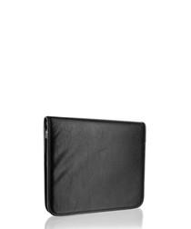 Black leather zip-around pouch