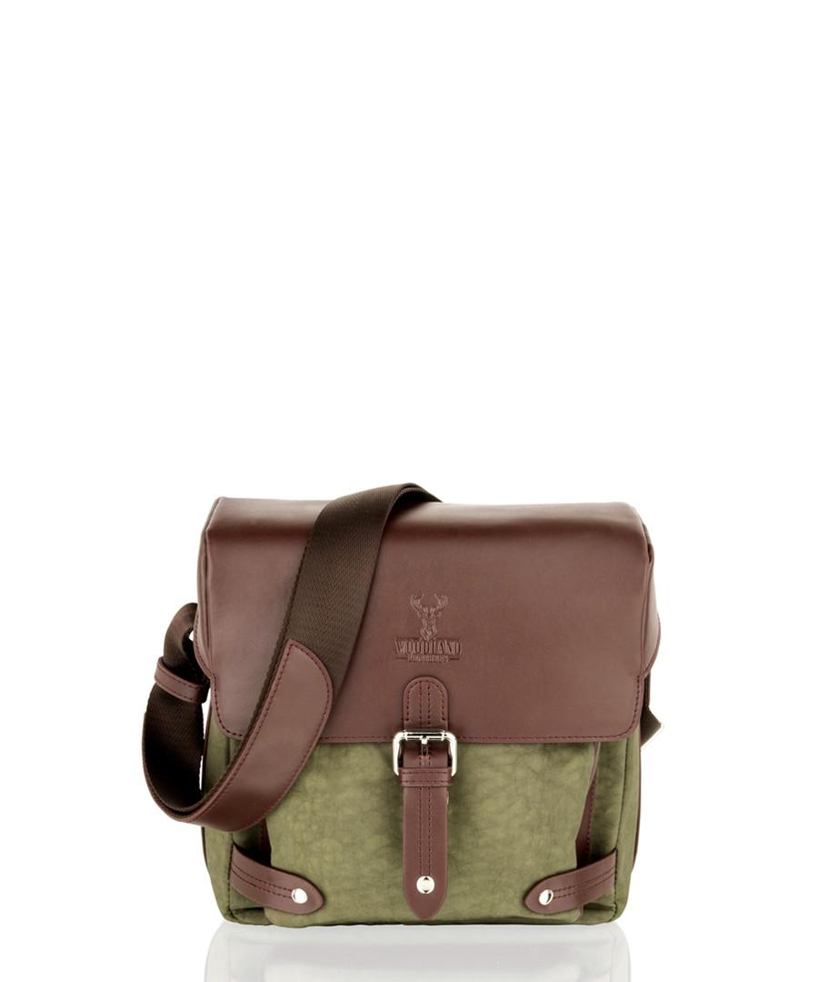 Olive & brown leather shoulder bag Sale - woodland leather