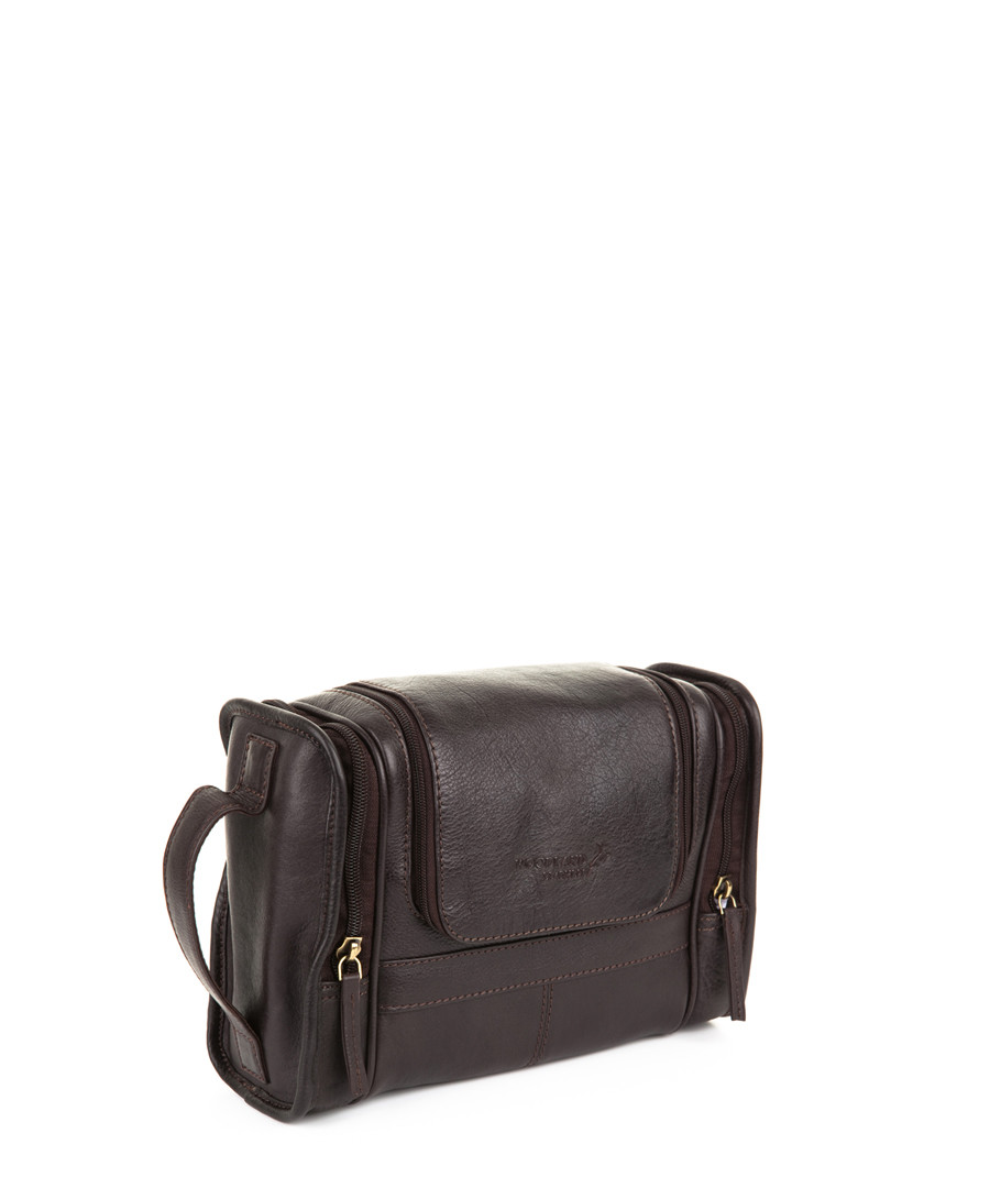 Brown leather wash bag Sale - woodland leather