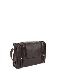 Brown leather wash bag