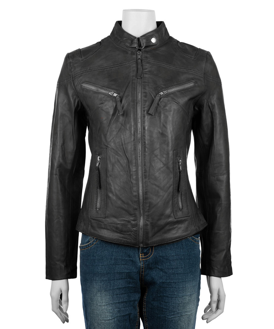 Women's black leather high-neck jacket Sale - woodland leathers