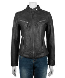 Women's black leather high-neck jacket