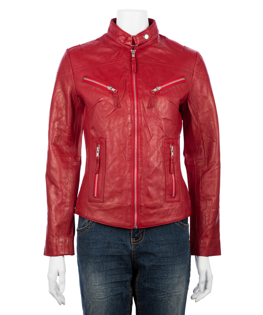 Women's red leather high-neck jacket Sale - woodland leather