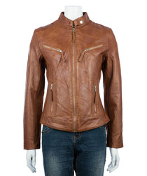 Women's tan leather high-neck jacket