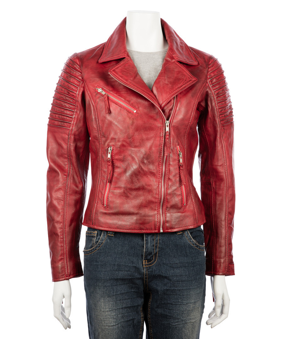 Women's red nappa jacket Sale - woodland leather