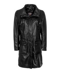 Women's black leather long coat