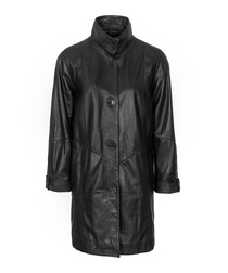 Women's black nappa high-neck coat