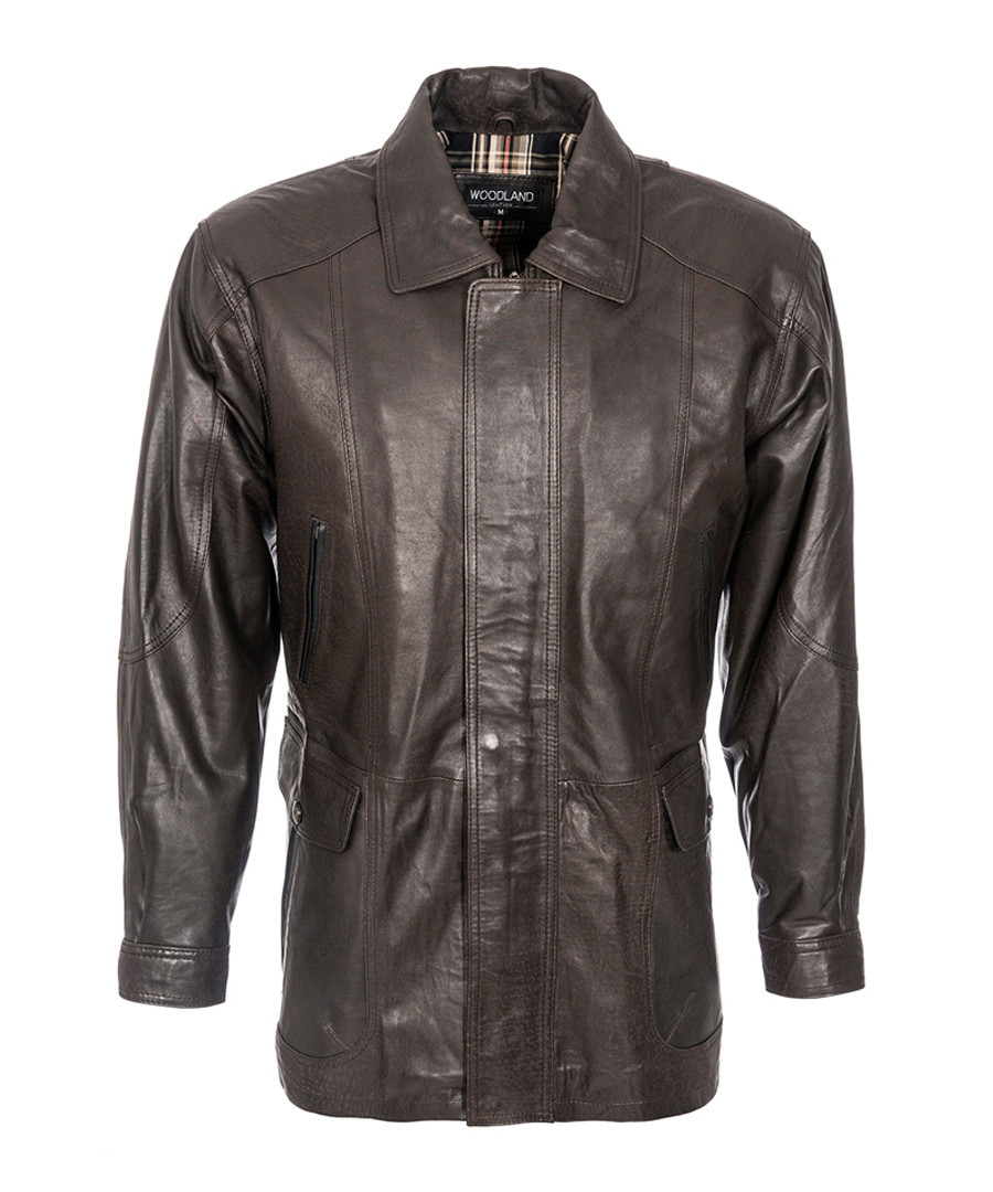 Men's brown nappa leather coat Sale - woodland leather