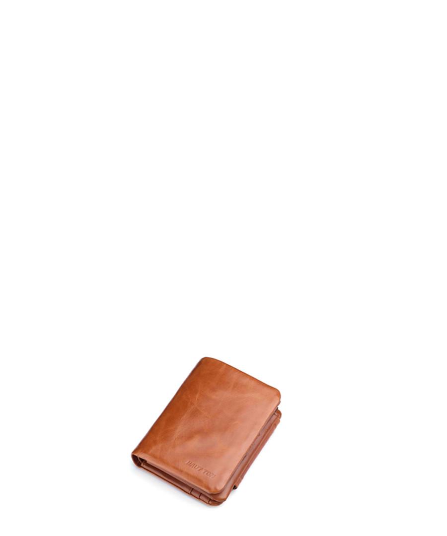 Tan leather flap wallet Sale - hautton