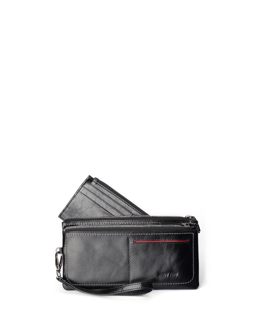 Black leather zip-around wallet Sale - hautton