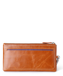 Tan zip-top wallet