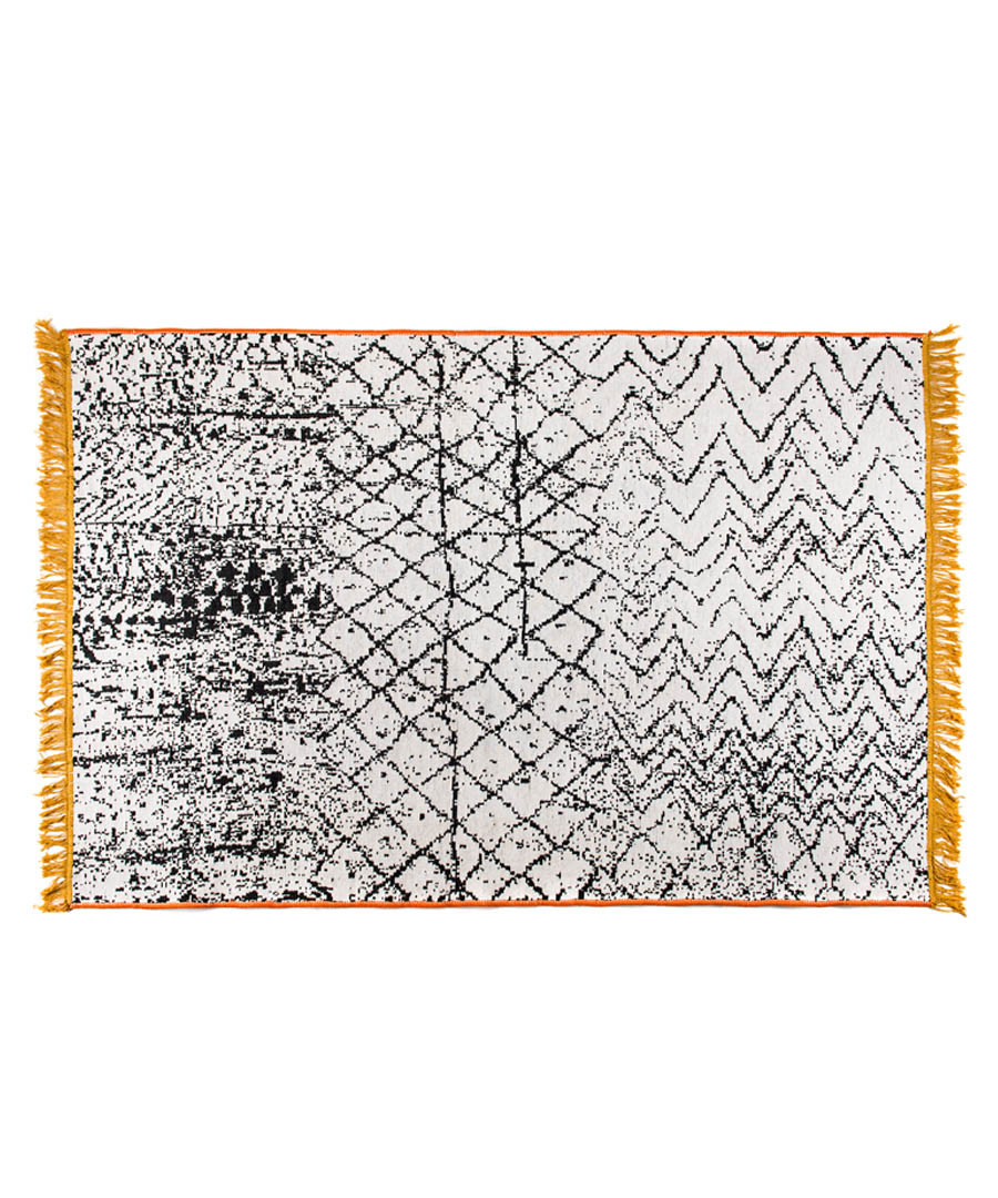 Grey & yellow cotton rug 250 x 160cm Sale - duo rugs