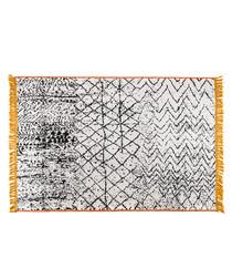 Grey & yellow cotton rug 250 x 160cm