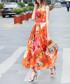 Orange cotton blend floral maxi dress Sale - BURRYCO Sale