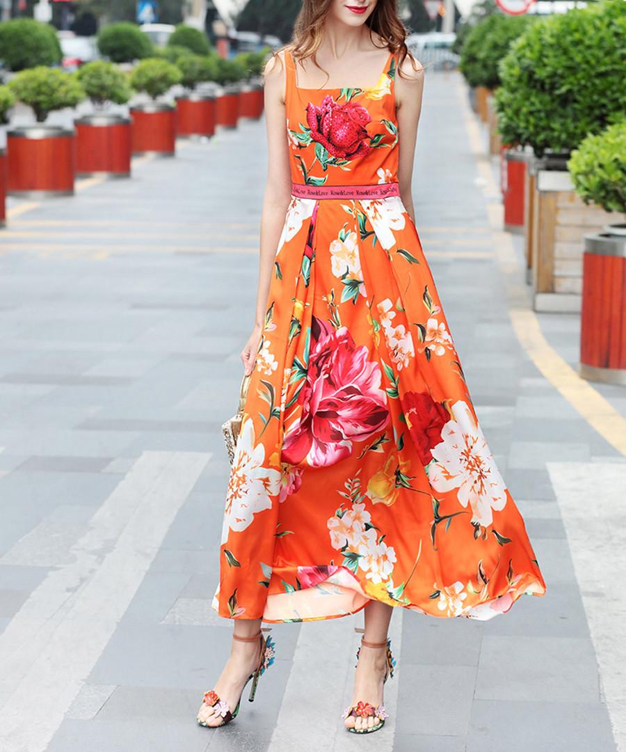 Orange cotton blend floral maxi dress Sale - BURRYCO