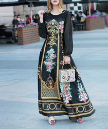 Black cotton blend print maxi dress