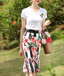 White cotton blend print pencil skirt