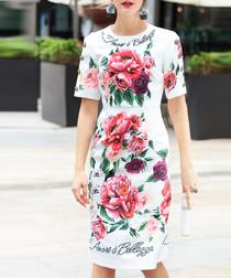 White cotton blend print dress