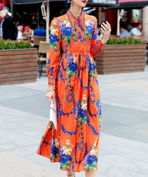 Orange cotton blend print midi dress