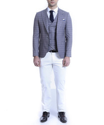 Grey Blazer and white jeans