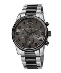 Silver-tone & gunmetal steel watch