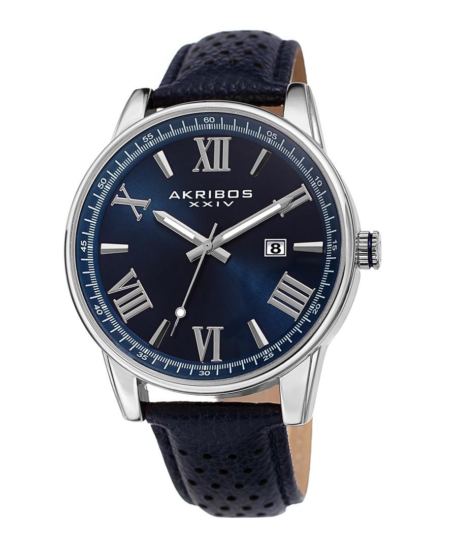 Blue leather numeral watch Sale - akribos XXIV