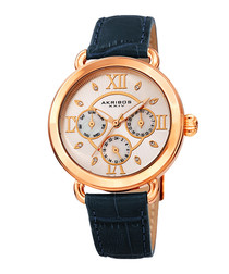Blue & rose gold-tone leather watch