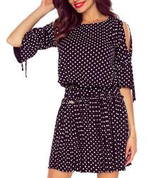 Black spot 3/4 sleeve slouch mini dress