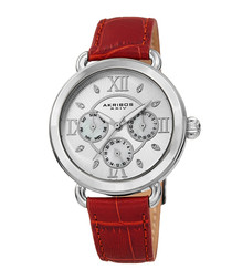 Red & silver-tone leather watch
