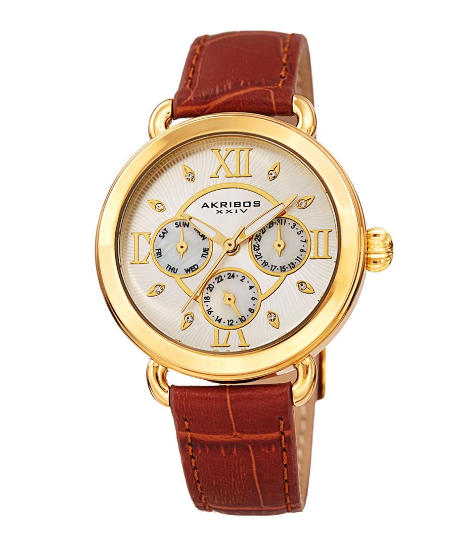 Tan & gold-tone leather watch Sale - akribos XXIV