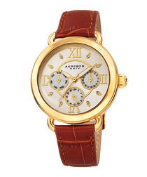 Tan & gold-tone leather watch