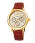 Tan & gold-tone leather watch Sale - akribos XXIV Sale
