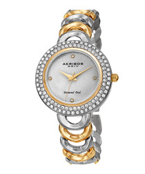 Two-tone crystal numberless watch