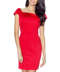 Red square neck short sleeve dress