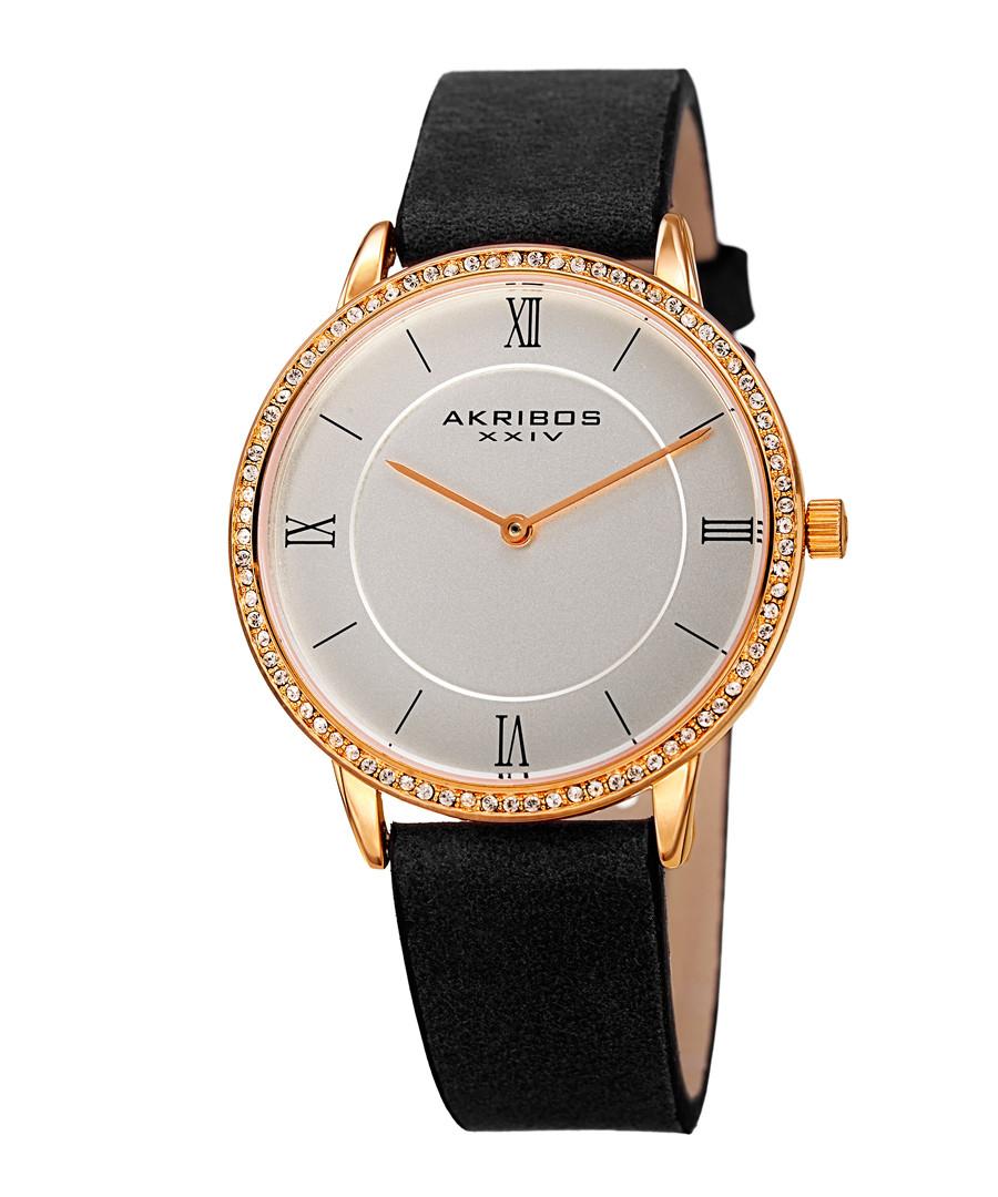 Black & gold-tone leather numeral watch Sale - akribos XXIV