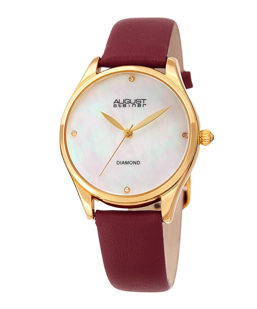 Gold-tone & burgundy leather watch Sale - August Steiner