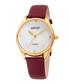 Gold-tone & burgundy leather watch Sale - August Steiner Sale
