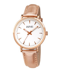 Rose gold-tone & pink leather watch