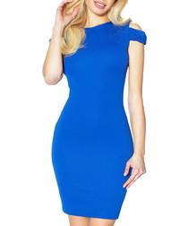 Blue cut-out sleeve pencil mini dress
