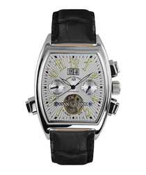 Royal Date black leather watch